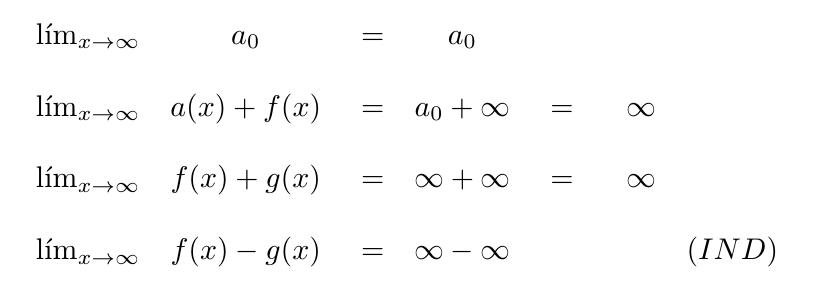 constante más infinito infinito más infinito infinito menos infinito