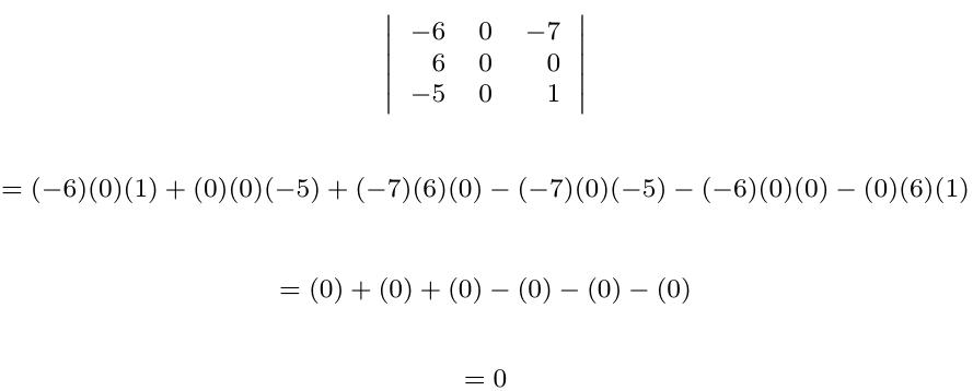 Determinante de una matriz con fila o columna cero | totumat.com