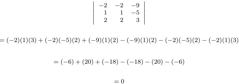 Determinante de una matriz con filas o columnas iguales | totumat.com