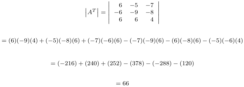 Determinante de la matriz transpuesta | totumat.com