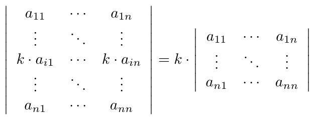 Determinante de multiplicar un escalar por fila o columna | totumat.com