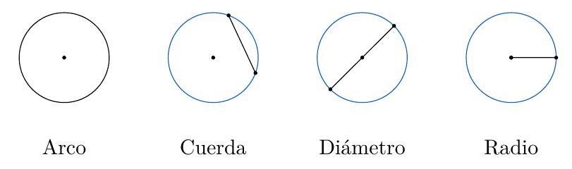 Partes de una circunferencia: Arco, Cuerda, Diámetro y Radio | totumat.com
