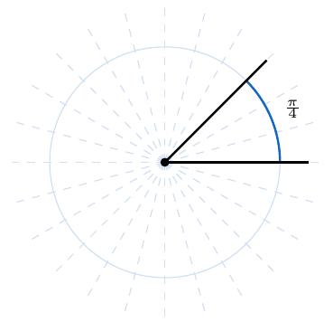 ángulo de pi cuartos radianes en una circunferencia | totumat.com