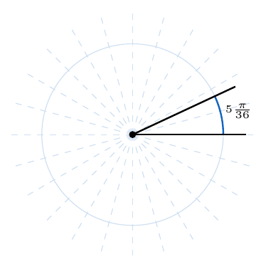 ángulo de cinco pi treinta y seisavos radianes en una circunferencia | totumat.com