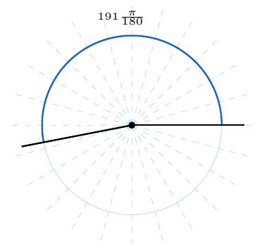 ángulo de siento noventa y uno pi ciento ochentavos radianes en una circunferencia | totumat.com