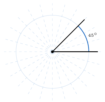 ángulo de 45 grados en una circunferencia | totumat.com
