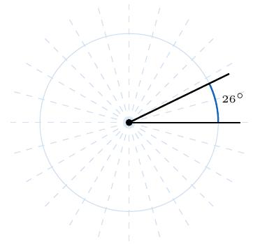 ángulo de 26 grados en una circunferencia | totumat.com